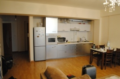 Our kitchen has a fridge/freezer, a microwave, and even an oven!