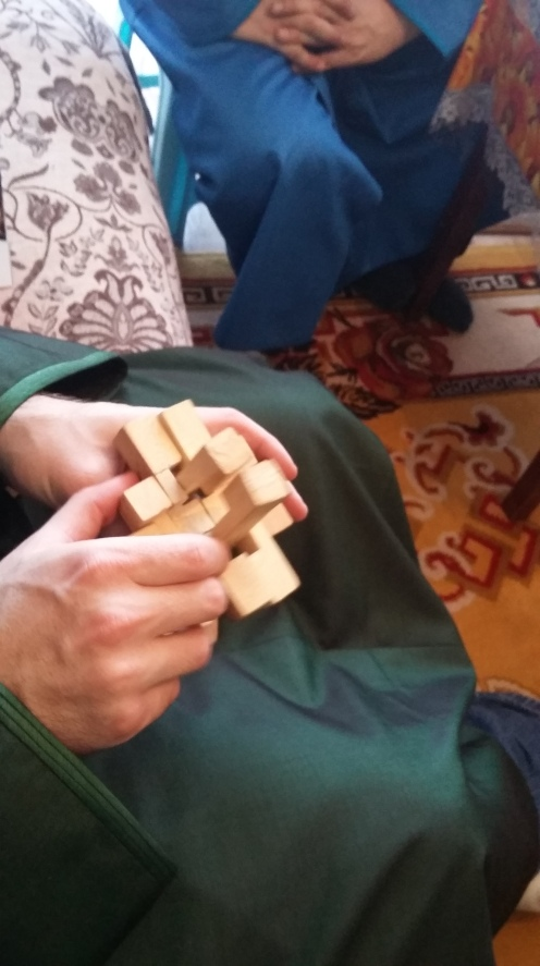 Wooden puzzles like this one are very popular past times in Mongolia!