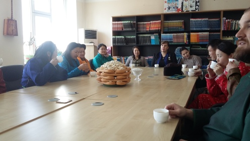 We enjoyed both milk tea and airag (fermented mare's milk) during our time in the library.