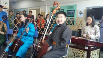 Some of our students preparing to play some traditional Tsagaan Sar songs.