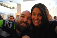So excited at a Superbowl viewing party (when the Seahawks were still leading the Patriots)!